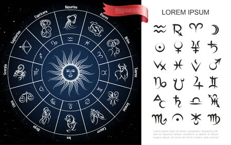 Zodiac circle composition with horoscope signs and planets symbols on space background vector illustration