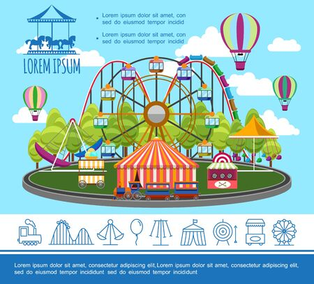 Flat amusement park concept with ferris wheel hot air balloons shooting range ice cream cart carousels and theme park linear icons vector illustration