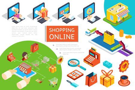 Composición isométrica de comercio electrónico con compra de bienes en la tienda en línea utilizando computadoras portátiles, camión de reparto, cajero automático, caja de regalo, bolsa, taza de café, ilustración vectorial