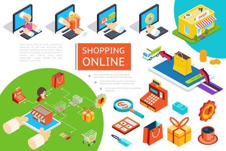 Isometric e-commerce composition with goods purchase in online store using laptops delivery truck cash machine gift box bag coffee cup vector illustration
