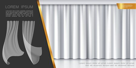 Closed stage white curtains concept with transparent fluttering drapery in realistic style vector illustration 일러스트
