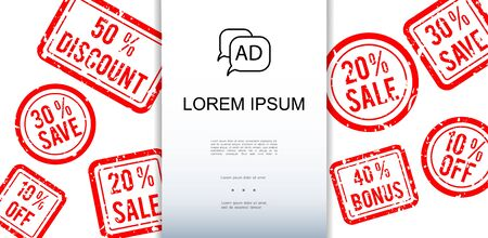 Advertisement and promotion template with red round and rectangular sale stamps vector illustration Illusztráció