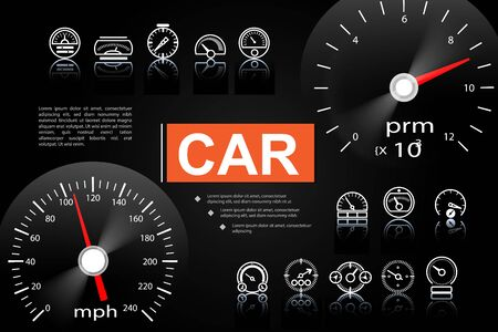 Car dashboard elements concept with speedometer tachometer and dashboard gauges of different design vector illustration Ilustracja