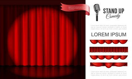 Realistic stage performance concept with spotlight on red curtains and different drapery design vector illustration  イラスト・ベクター素材