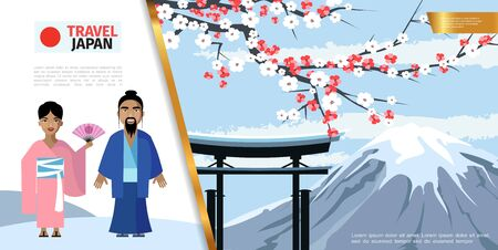 Flat Japan colorful concept with man and woman in national japanese costumes gate sakura cherry branch Fuji mountain vector illustration