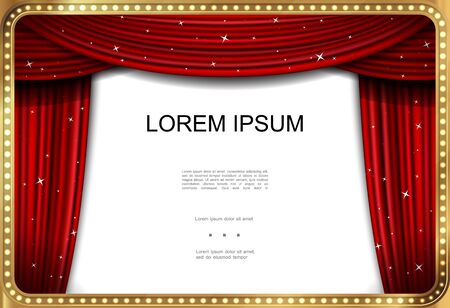 Realistic showtime advertising template with red elegant luxurious curtains in illuminated glowing golden frame vector illustration