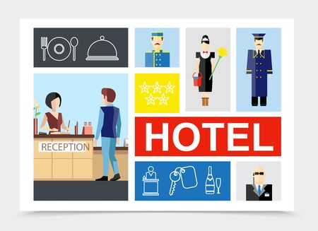 Flat hotel colorful composition with porter guest near reception maid security guard dish cutlery key champagne bottle linear icons vector illustration