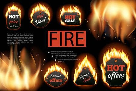 Realistic hot fire labels composition with Price Deal Offers Sale inscriptions on dark background with flames vector illustration