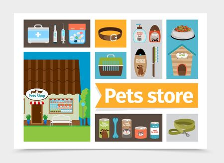 Flat pets shop composition with cat and dog food medical box syringe pills thermometer collar carrier kennel bottles of shampoo comb leash vector illustration