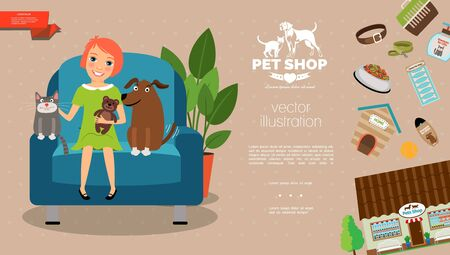 Flat pets care template with girl cat and dog sitting in armchair pets shop collar carrier shampoo bones leash ball kennel feed vector illustration