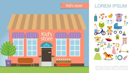 Flat kids store colorful concept with shop facade children toys food clothes and different accessories vector illustration