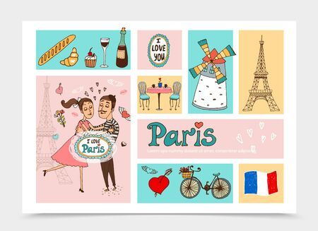 Sketch Travel To Paris composition with couple of lovers Eiffel Tower France flag bicycle heart table chairs wine bottle french food vector illustration Stock Illustratie