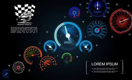 Car dashboard gauges template with colorful speedometers of different design on dark background vector illustration