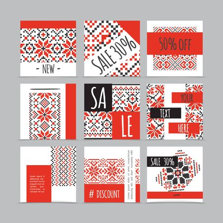 Colorful embroidery advertising cards composition with space for text and slavic ethnic traditional patterns and ornaments isolated vector illustration