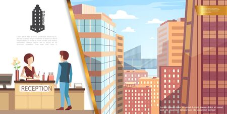 Colorful hotel service concept with guest talking with receptionist and modern cityscape view from hotel room vector illustration