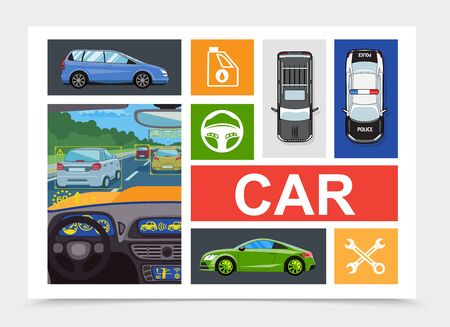 Flat city transport composition with car inside view different automobiles crossed wrenches fuel canister steering wheel icons vector illustration