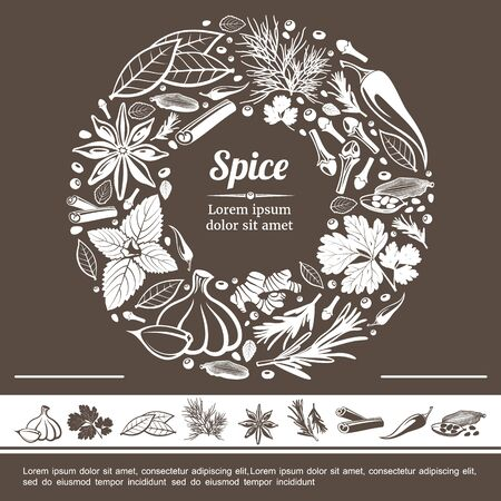 Sketch spices round monochrome concept with star anise mint bay leaf cloves ginger rosemary cinnamon sticks cardamom pepper garlic fennel parsley vector illustration