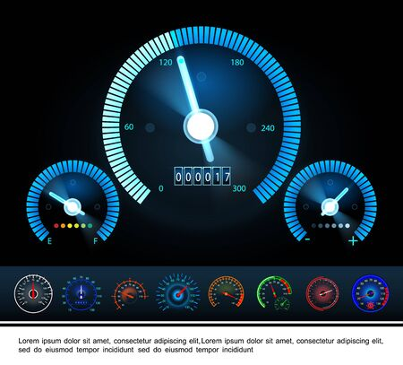 Car dashboard panel gauges concept with fuel indicator tachometer and colorful speedometers on dark background vector illustration Stock Illustratie