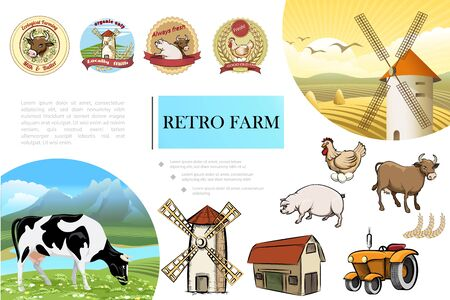 Sketch retro farm composition with pig cow chicken windmill barn tractor wheat ears and colorful farming emblems vector illustration