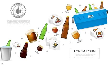 Realistic brewery colorful template with beer bottles glasses box and bucket with ice and alcohol drinks coasters vector illustration Ilustrace