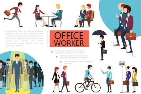 Flat office workers colorful composition with business people performing different actions vector illustration