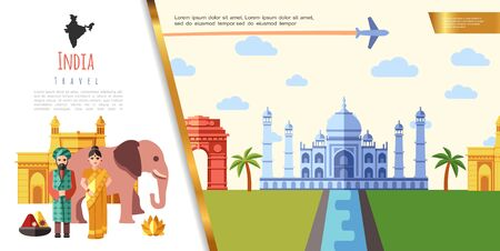 Flat India Travel concept with indian people in traditional clothes elephant lotus flower airplane flying over famous landmarks vector illustration
