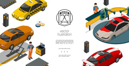 Isometric auto repair service template with mechanics taxi and sports cars automobile painting process and car on lift vector illustration