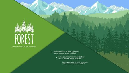 Colorful summer forest composition with trees and mountains scenery in flat style vector illustration