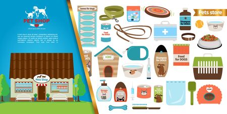 Flat pets shop concept with facade of store building different accessories and food for cats and dogs vector illustration Иллюстрация