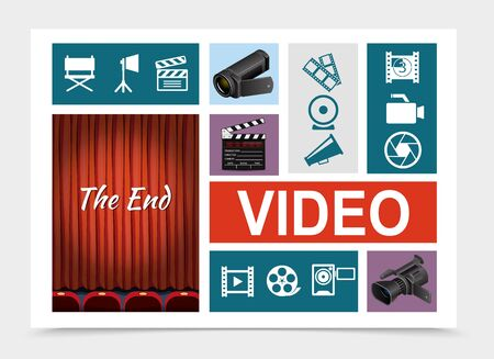 Cinema elements composition with realistic videocameras clapperboard flat cinematography icons and red curtains on theater stage vector illustration Standard-Bild - 129540273