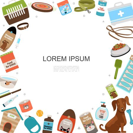 Flat pets shop accessories template with place for text cat and dog food carrier kennel medical box shampoo comb leash collar bones vector illustration