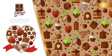 Flat sweet desserts concept with chocolate ice cream candies cakes berries coffee cup cocoa beans vector illustration