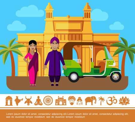 Flat India Travel colorful concept with people in traditional clothes tuk tuk palm trees India Gate and indian icons vector illustration