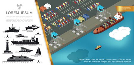 Flat shipping concept with loading of containers on cargo ship at seaport and silhouettes of buoy lighthouse different ships vector illustration Çizim