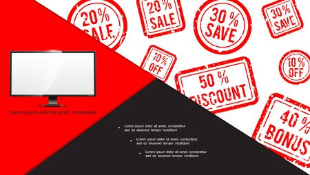 Colorful advertising composition with monitor and sale stamps with various amounts of discounts vector illustration Reklamní fotografie - 131973999