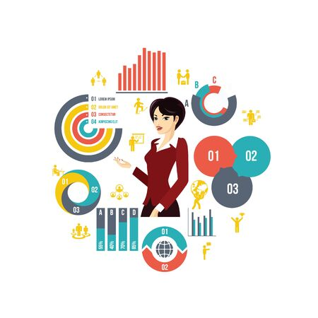 Flat business round concept with beautiful stylish businesswoman diagrams charts bars and businessman icons vector illustration