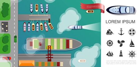 Flat seaport top view concept with cargo ship boats cars riding on road and nautical icons vector illustration