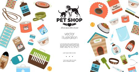 Flat dog and cat products template with bones cans bowls of water kennel carrier leashes collars comb shampoo pills syringe ball vector illustration