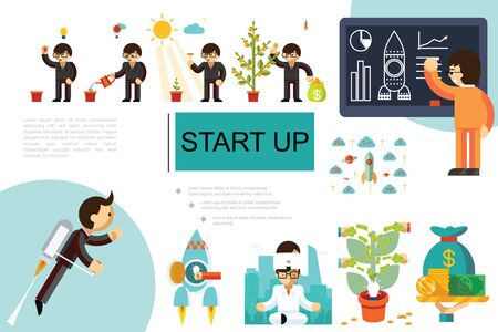 Flat startup and investment composition with businessmen growing money tree meditating developing business strategy and flying with jetpack vector illustration