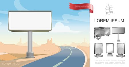 Outdoor business advertisement concept with realistic billboard near road in desert and different blank stands vector illustration