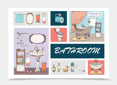 Hand drawn bathroom elements composition with bathtubs washbasin toilet paper mirror towels trash slippers shower gel liquid soap shampoo bottles toothpaste vector illustration Çizim