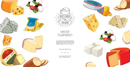 Colorful natural organic cheese template with greek italian swiss and dutch sorts of cheese in cartoon style vector illustration