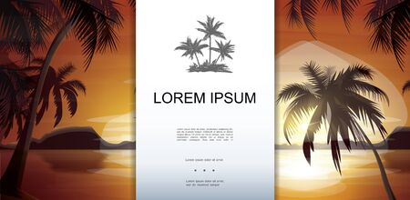 Tropical nature landscape template with palm trees silhouettes on sea and sunset background vector illustration Çizim