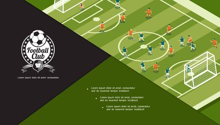 Football tournament concept with players playing soccer on green playground in flat style vector illustration