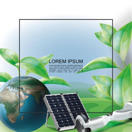 Realistic eco energy template with frame for text Earth planet solar panels hoverboard and green leaves vector illustration Çizim