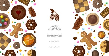 Flat sweet products colorful template with dark press gingerbread chess dipped chocolate cookies cracker and biscuits with fruits nuts vector illustration Ilustração
