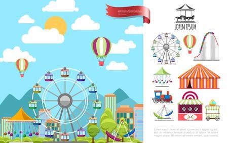 Flat amusement park concept with ferris wheel hot air balloons carousels tent ice cream cart shooting range train vector illustration Фото со стока - 131973756