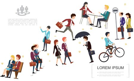 Flat business people template with different characters of office workers in various situations vector illustration