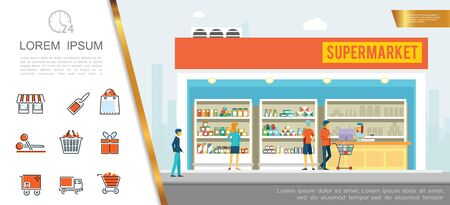 Flat supermarket colorful concept with people buying products in store and different shopping icons vector illustration