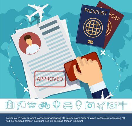 Flaches Reiseelementkonzept mit Hand, die Stempelpässe hält Flugzeuge, die über Weltkartenreise und Reiseikonenvektorillustration fliegen Vektorgrafik